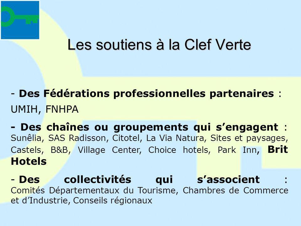 Les soutiens à la Clef Verte - Des Fédérations professionnelles partenaires : UMIH, FNHPA - Des chaînes ou groupements qui sengagent : Sunêlia, SAS Ra