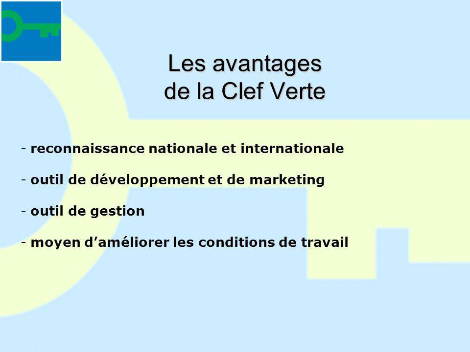 Les avantages de la Clef Verte -reconnaissance nationale et internationale -outil de développement et de marketing -outil de gestion -moyen daméliorer