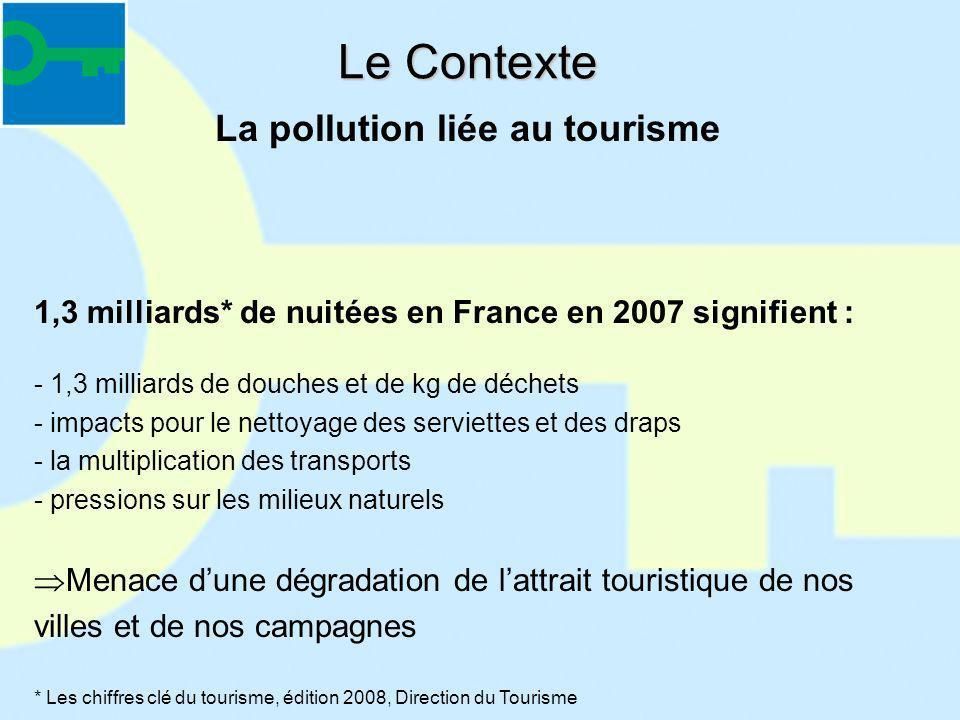 Le Contexte 1,3 milliards* de nuitées en France en 2007 signifient : - 1,3 milliards de douches et de kg de déchets - impacts pour le nettoyage des se