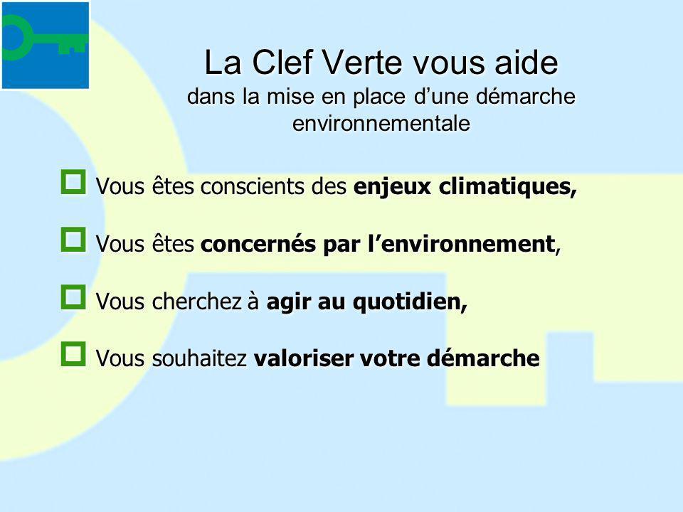 La Clef Verte vous aide dans la mise en place dune démarche environnementale Vous êtes conscients des enjeux climatiques, Vous êtes concernés par lenv