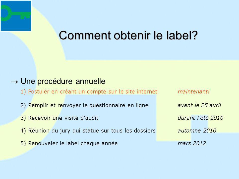 Comment obtenir le label? Une procédure annuelle 1) Postuler en créant un compte sur le site internetmaintenant! 2) Remplir et renvoyer le questionnai