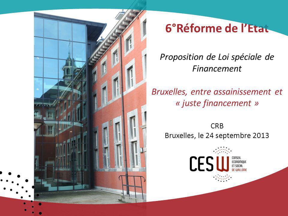 6°Réforme de lEtat Proposition de Loi spéciale de Financement Bruxelles, entre assainissement et « juste financement » CRB Bruxelles, le 24 septembre 2013