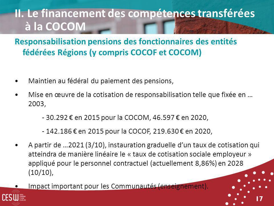 17 Responsabilisation pensions des fonctionnaires des entités fédérées Régions (y compris COCOF et COCOM) Maintien au fédéral du paiement des pensions, Mise en œuvre de la cotisation de responsabilisation telle que fixée en … 2003, - 30.292 en 2015 pour la COCOM, 46.597 en 2020, - 142.186 en 2015 pour la COCOF, 219.630 en 2020, A partir de …2021 (3/10), instauration graduelle dun taux de cotisation qui atteindra de manière linéaire le « taux de cotisation sociale employeur » appliqué pour le personnel contractuel (actuellement 8,86%) en 2028 (10/10), Impact important pour les Communautés (enseignement).