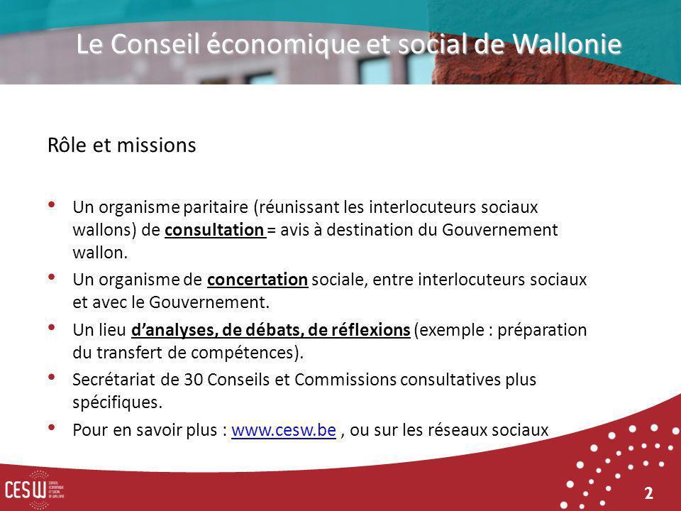 2 Rôle et missions Un organisme paritaire (réunissant les interlocuteurs sociaux wallons) de consultation = avis à destination du Gouvernement wallon.