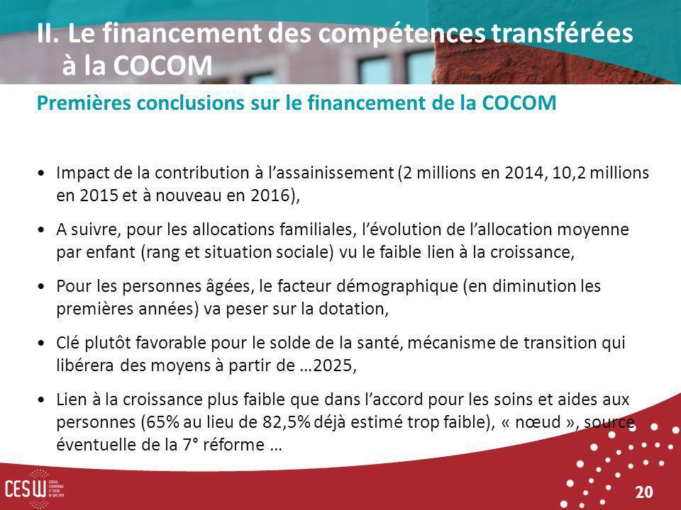 20 Premières conclusions sur le financement de la COCOM Impact de la contribution à lassainissement (2 millions en 2014, 10,2 millions en 2015 et à no