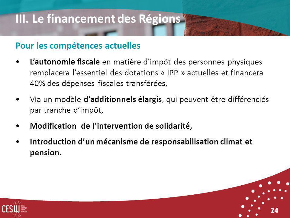 24 Pour les compétences actuelles Lautonomie fiscale en matière dimpôt des personnes physiques remplacera lessentiel des dotations « IPP » actuelles e