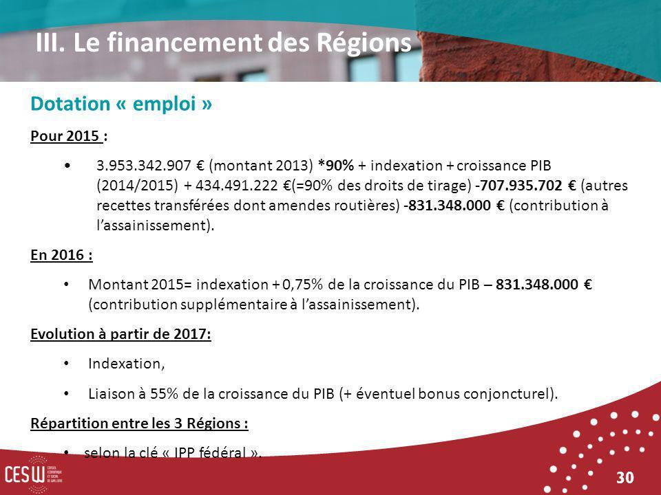 30 Dotation « emploi » Pour 2015 : 3.953.342.907 (montant 2013) *90% + indexation + croissance PIB (2014/2015) + 434.491.222 (=90% des droits de tirage) -707.935.702 (autres recettes transférées dont amendes routières) -831.348.000 (contribution à lassainissement).