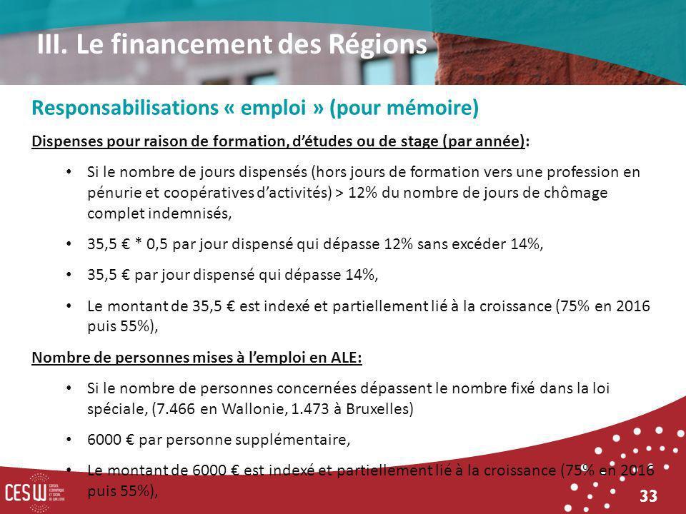 33 Responsabilisations « emploi » (pour mémoire) Dispenses pour raison de formation, détudes ou de stage (par année): Si le nombre de jours dispensés