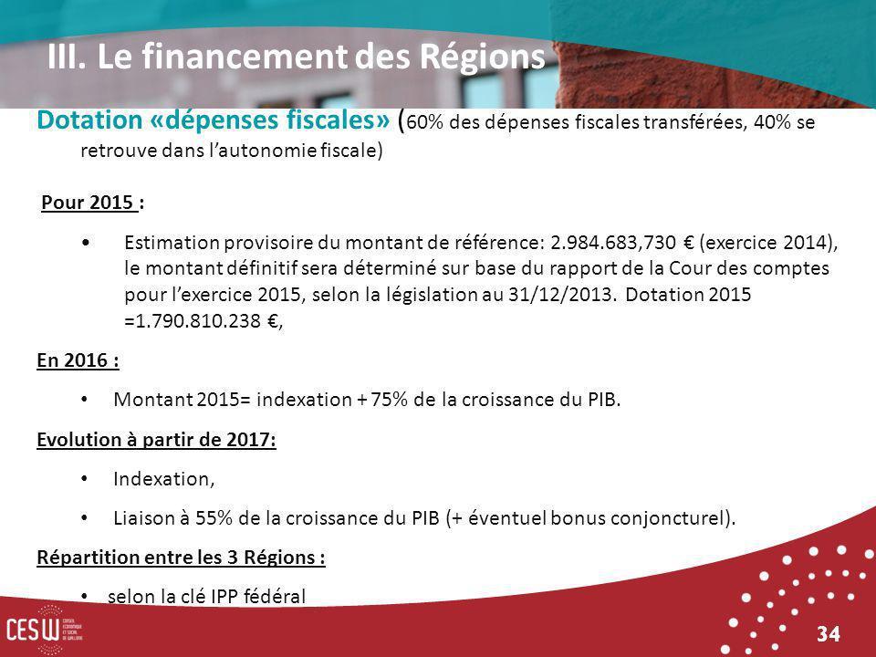 34 Dotation «dépenses fiscales» ( 60% des dépenses fiscales transférées, 40% se retrouve dans lautonomie fiscale) Pour 2015 : Estimation provisoire du