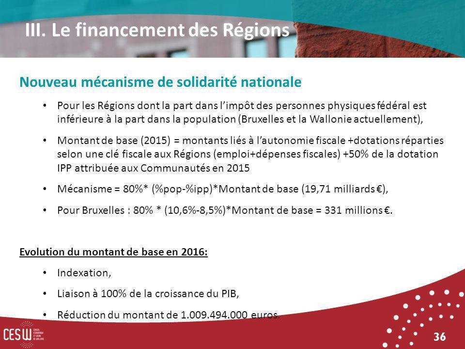 36 Nouveau mécanisme de solidarité nationale Pour les Régions dont la part dans limpôt des personnes physiques fédéral est inférieure à la part dans la population (Bruxelles et la Wallonie actuellement), Montant de base (2015) = montants liés à lautonomie fiscale +dotations réparties selon une clé fiscale aux Régions (emploi+dépenses fiscales) +50% de la dotation IPP attribuée aux Communautés en 2015 Mécanisme = 80%* (%pop-%ipp)*Montant de base (19,71 milliards ), Pour Bruxelles : 80% * (10,6%-8,5%)*Montant de base = 331 millions.