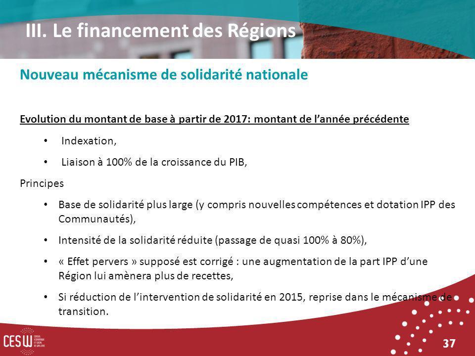37 Nouveau mécanisme de solidarité nationale Evolution du montant de base à partir de 2017: montant de lannée précédente Indexation, Liaison à 100% de