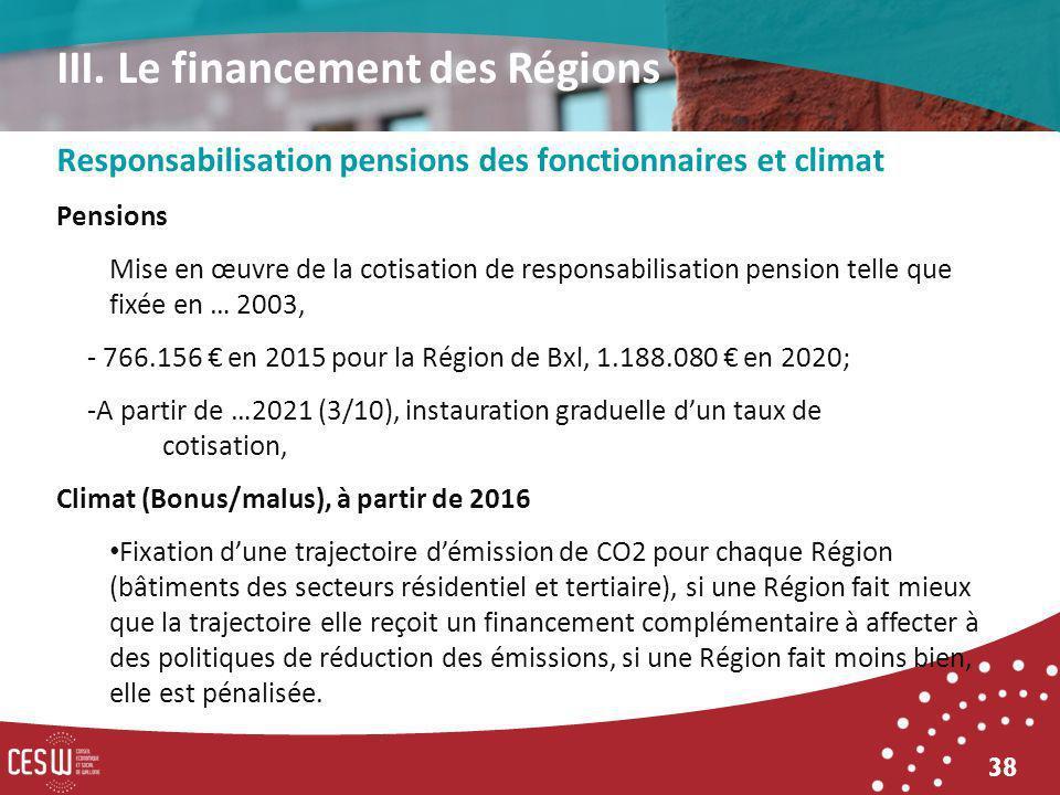 38 Responsabilisation pensions des fonctionnaires et climat Pensions Mise en œuvre de la cotisation de responsabilisation pension telle que fixée en … 2003, - 766.156 en 2015 pour la Région de Bxl, 1.188.080 en 2020; -A partir de …2021 (3/10), instauration graduelle dun taux de cotisation, Climat (Bonus/malus), à partir de 2016 Fixation dune trajectoire démission de CO2 pour chaque Région (bâtiments des secteurs résidentiel et tertiaire), si une Région fait mieux que la trajectoire elle reçoit un financement complémentaire à affecter à des politiques de réduction des émissions, si une Région fait moins bien, elle est pénalisée.