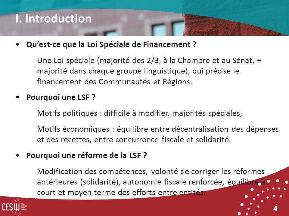 4 Quest-ce que la Loi Spéciale de Financement ? Une Loi spéciale (majorité des 2/3, à la Chambre et au Sénat, + majorité dans chaque groupe linguistiq