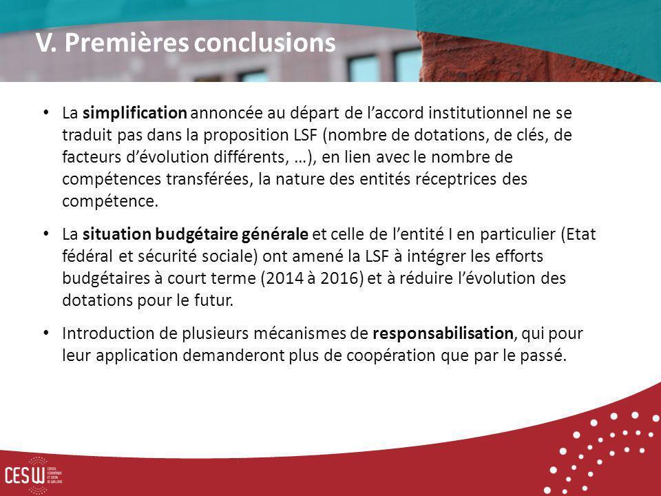 La simplification annoncée au départ de laccord institutionnel ne se traduit pas dans la proposition LSF (nombre de dotations, de clés, de facteurs dévolution différents, …), en lien avec le nombre de compétences transférées, la nature des entités réceptrices des compétence.