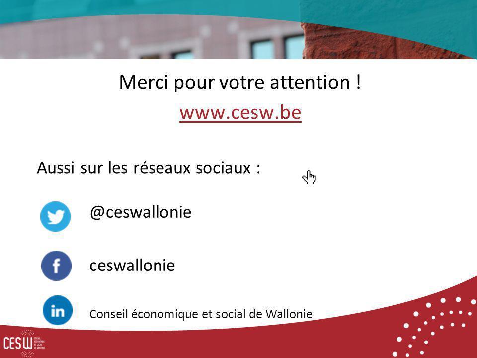 Merci pour votre attention ! www.cesw.be Aussi sur les réseaux sociaux : @ceswallonie ceswallonie Conseil économique et social de Wallonie