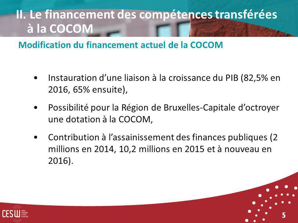 5 Modification du financement actuel de la COCOM Instauration dune liaison à la croissance du PIB (82,5% en 2016, 65% ensuite), Possibilité pour la Région de Bruxelles-Capitale doctroyer une dotation à la COCOM, Contribution à lassainissement des finances publiques (2 millions en 2014, 10,2 millions en 2015 et à nouveau en 2016).
