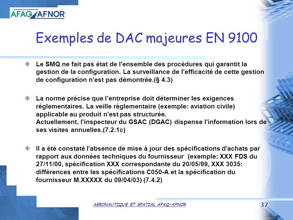 AERONAUTIQUE ET SPATIAL AFAQ-AFNOR 37 Exemples de DAC majeures EN 9100 Le SMQ ne fait pas état de l ensemble des procédures qui garantit la gestion de la configuration.