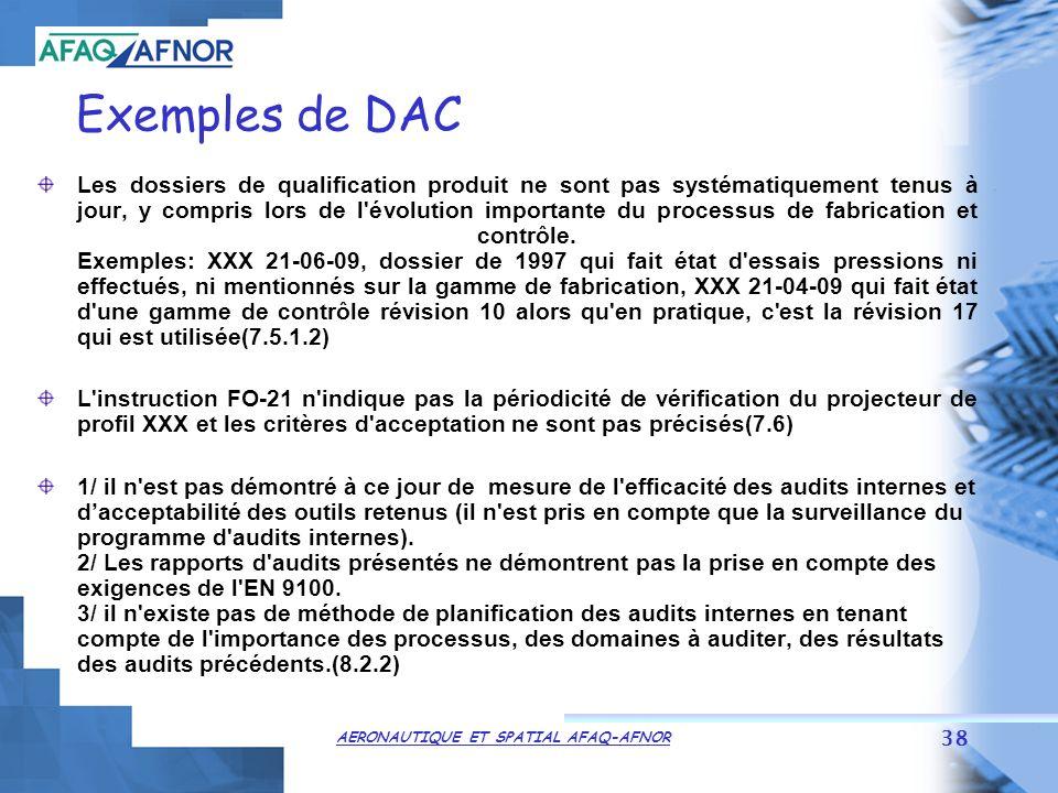 AERONAUTIQUE ET SPATIAL AFAQ-AFNOR 38 Exemples de DAC Les dossiers de qualification produit ne sont pas systématiquement tenus à jour, y compris lors de l évolution importante du processus de fabrication et contrôle.
