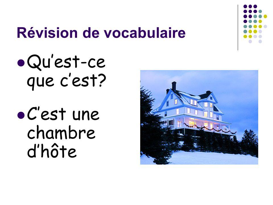 Révision de vocabulaire Quest-ce que cest? Cest une chambre dhôte
