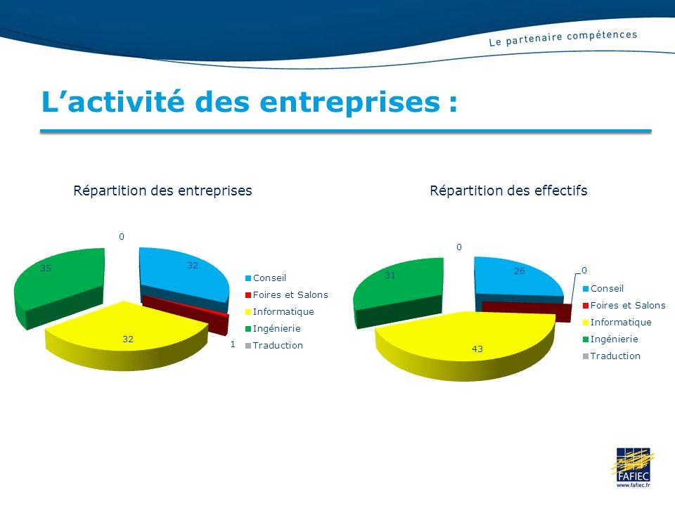 Lactivité des entreprises : Répartition des entreprisesRépartition des effectifs