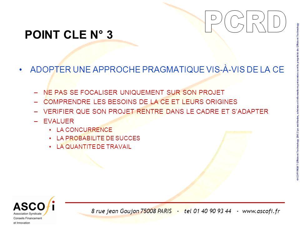 8 rue jean Goujon 75008 PARIS - tel 01 40 90 93 44 - www.ascofi.fr © COPYRIGHT Efficient Technology 2002 Les méthodes, schémas et informations présentées sont la propriété de Efficient Technology POINT CLE N° 3 ADOPTER UNE APPROCHE PRAGMATIQUE VIS-À-VIS DE LA CE –NE PAS SE FOCALISER UNIQUEMENT SUR SON PROJET –COMPRENDRE LES BESOINS DE LA CE ET LEURS ORIGINES –VERIFIER QUE SON PROJET RENTRE DANS LE CADRE ET SADAPTER –EVALUER LA CONCURRENCE LA PROBABILITE DE SUCCES LA QUANTITE DE TRAVAIL