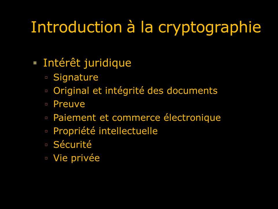 Dans cette introduction Notions Cryptographie à clé secrète Cryptographie à clé publique Les systèmes hybrides Les fonctions de hachage La signature électronique Par la suite : SSL, les certificats, les infrastructure à clé publique, …