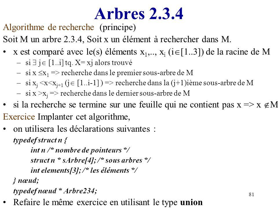 81 Arbres 2.3.4 Algorithme de recherche (principe) Soit M un arbre 2.3.4, Soit x un élément à rechercher dans M. x est comparé avec le(s) éléments x 1