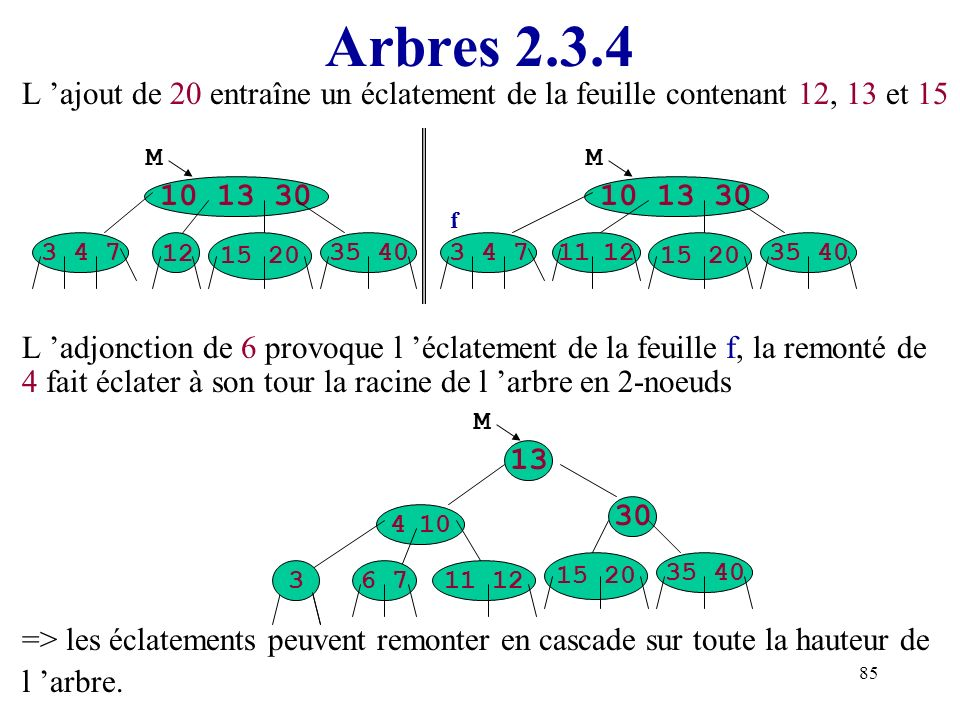 85 Arbres 2.3.4 L ajout de 20 entraîne un éclatement de la feuille contenant 12, 13 et 15 L adjonction de 6 provoque l éclatement de la feuille f, la