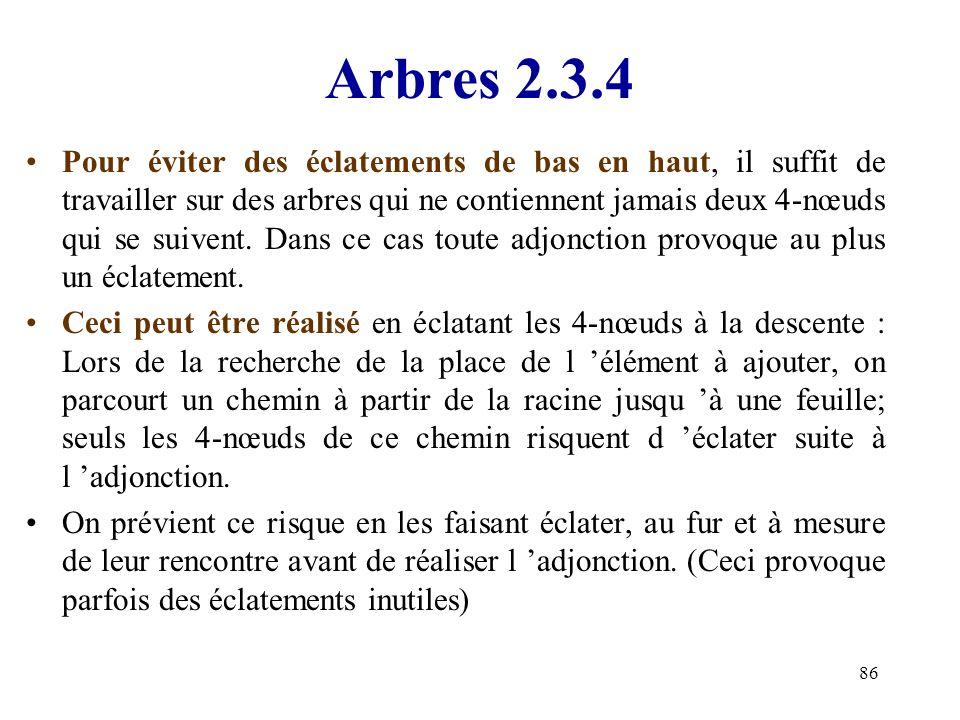 86 Arbres 2.3.4 Pour éviter des éclatements de bas en haut, il suffit de travailler sur des arbres qui ne contiennent jamais deux 4-nœuds qui se suive