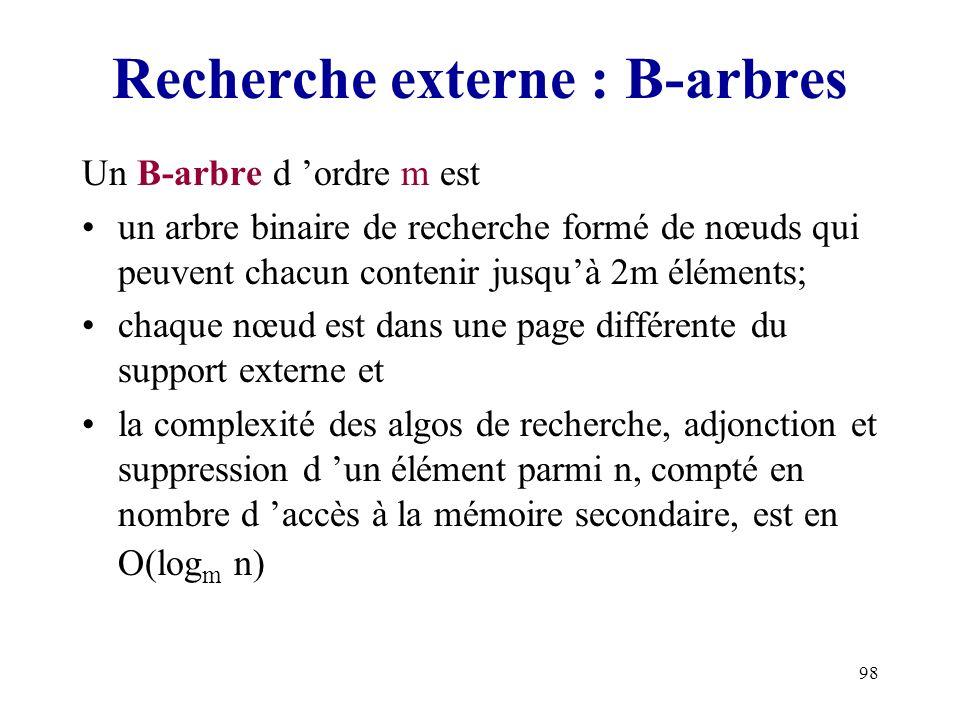 98 Recherche externe : B-arbres Un B-arbre d ordre m est un arbre binaire de recherche formé de nœuds qui peuvent chacun contenir jusquà 2m éléments;