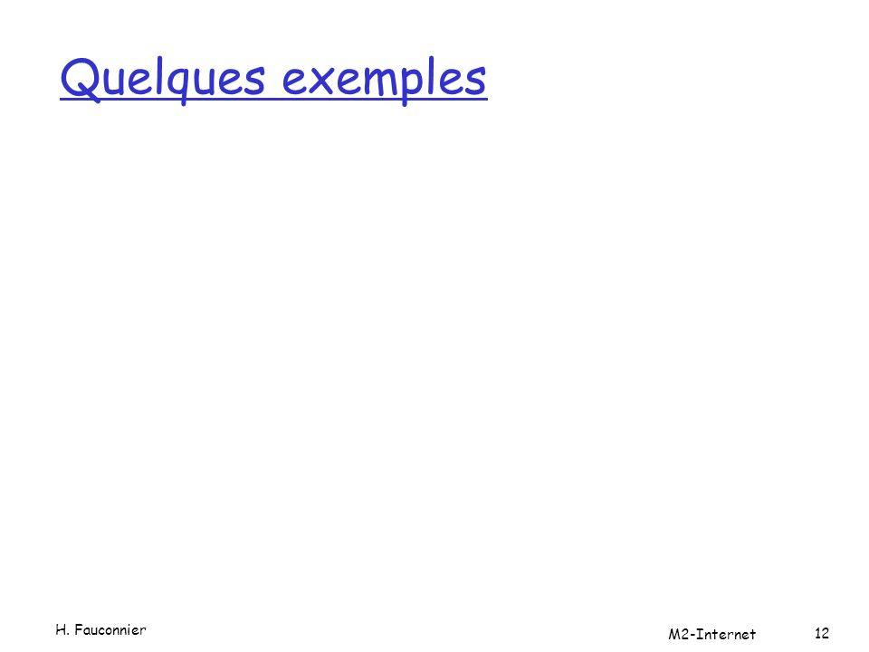 Quelques exemples H. Fauconnier M2-Internet 12