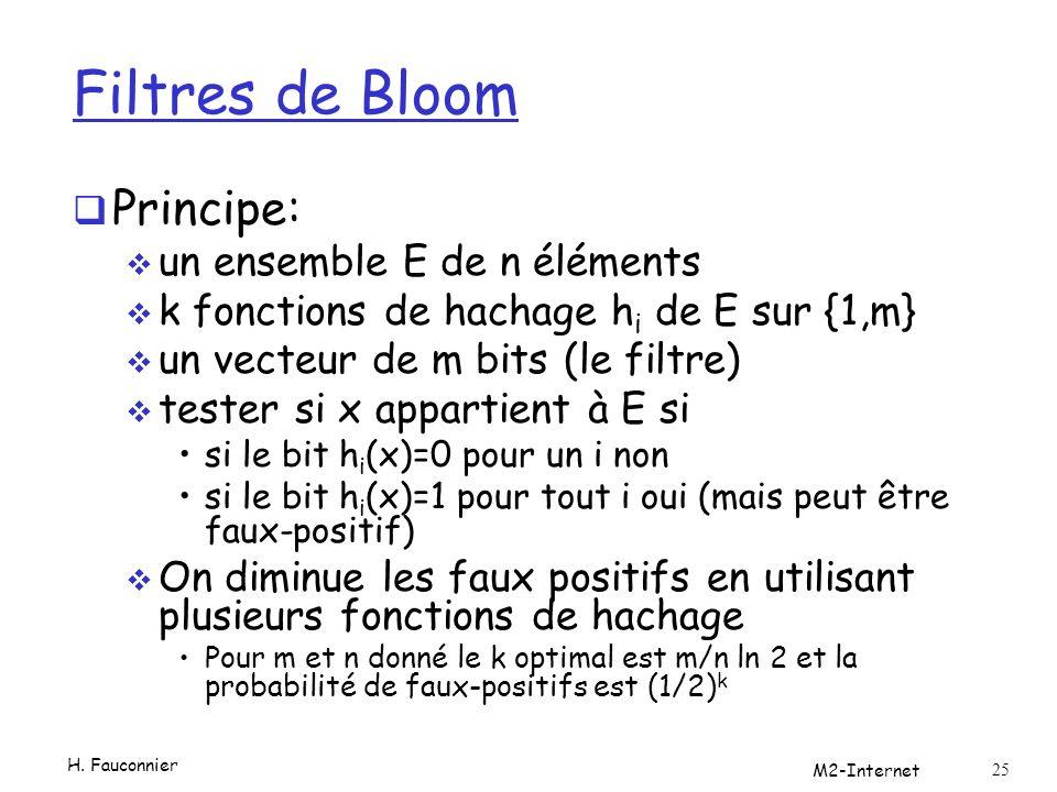 Filtres de Bloom Principe: un ensemble E de n éléments k fonctions de hachage h i de E sur {1,m} un vecteur de m bits (le filtre) tester si x appartient à E si si le bit h i (x)=0 pour un i non si le bit h i (x)=1 pour tout i oui (mais peut être faux-positif) On diminue les faux positifs en utilisant plusieurs fonctions de hachage Pour m et n donné le k optimal est m/n ln 2 et la probabilité de faux-positifs est (1/2) k H.