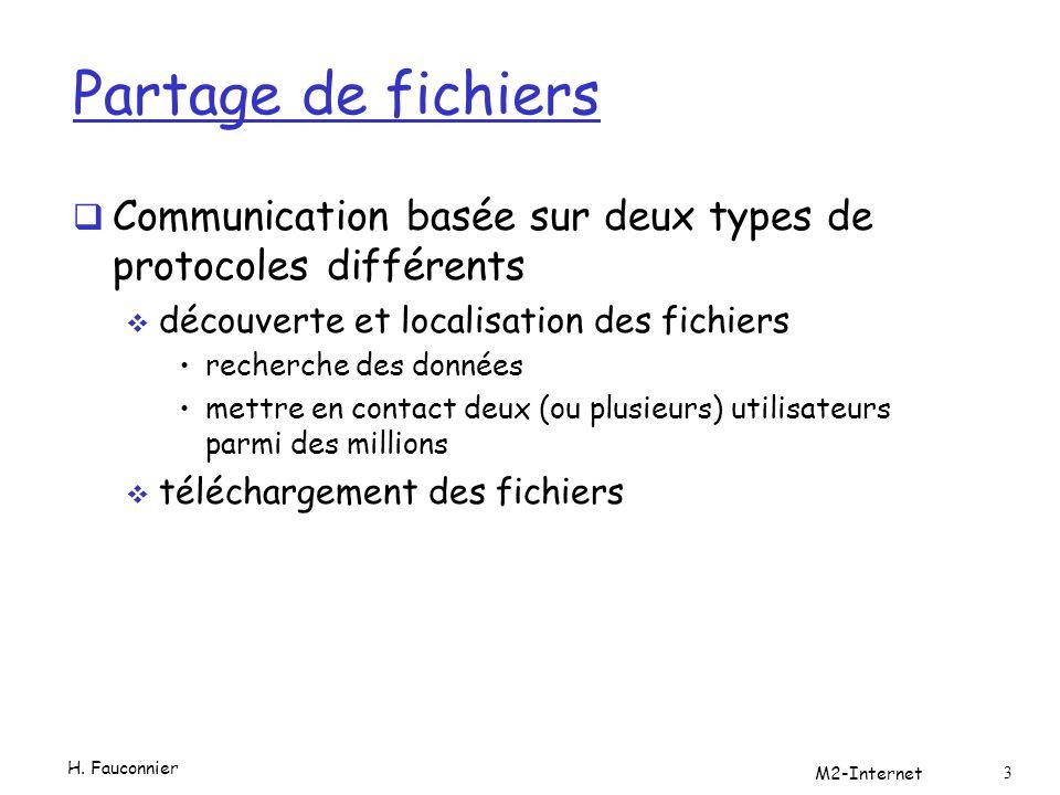 Partage de fichiers Communication basée sur deux types de protocoles différents découverte et localisation des fichiers recherche des données mettre en contact deux (ou plusieurs) utilisateurs parmi des millions téléchargement des fichiers H.