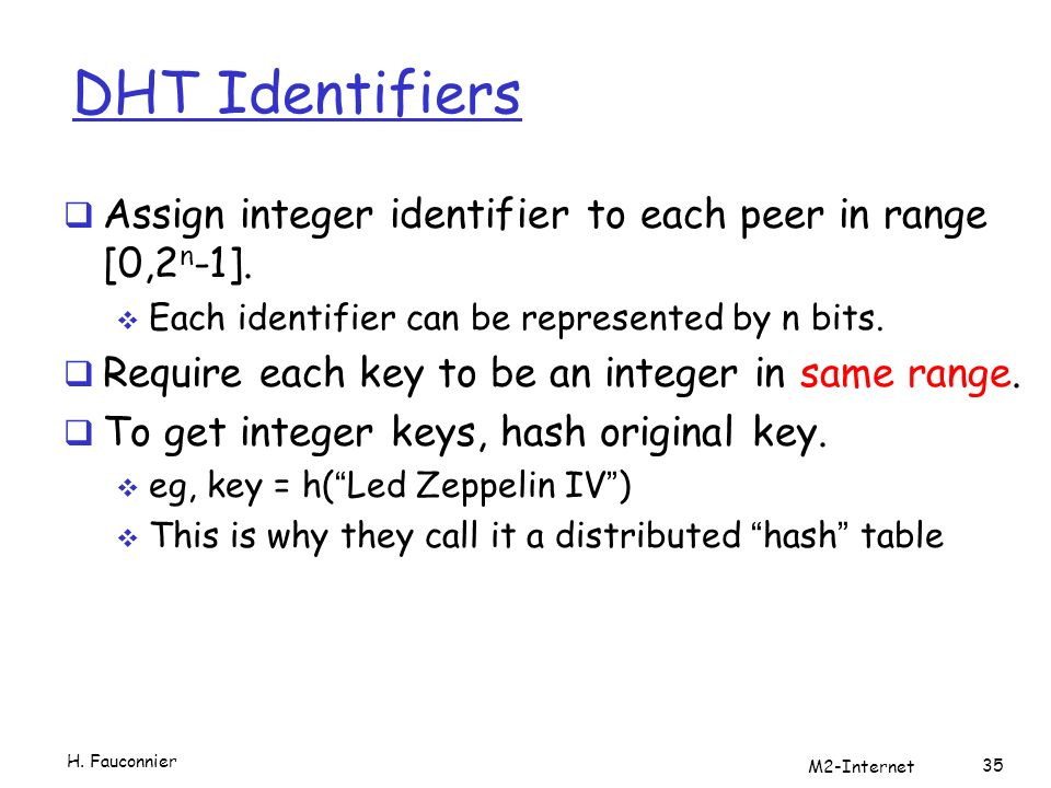 DHT Identifiers Assign integer identifier to each peer in range [0,2 n -1].