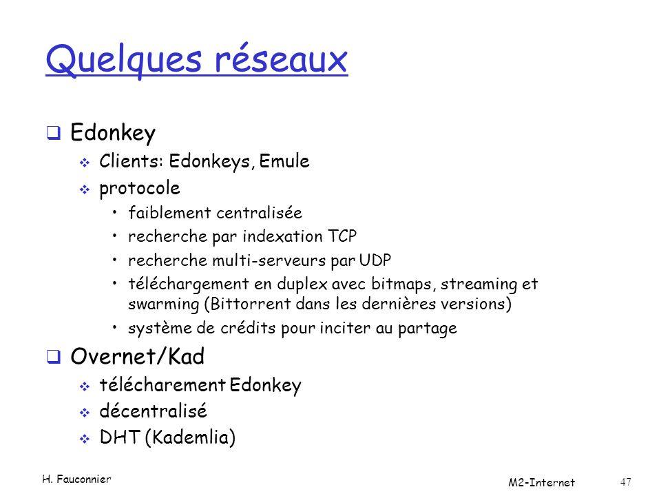 Quelques réseaux Edonkey Clients: Edonkeys, Emule protocole faiblement centralisée recherche par indexation TCP recherche multi-serveurs par UDP téléchargement en duplex avec bitmaps, streaming et swarming (Bittorrent dans les dernières versions) système de crédits pour inciter au partage Overnet/Kad télécharement Edonkey décentralisé DHT (Kademlia) H.