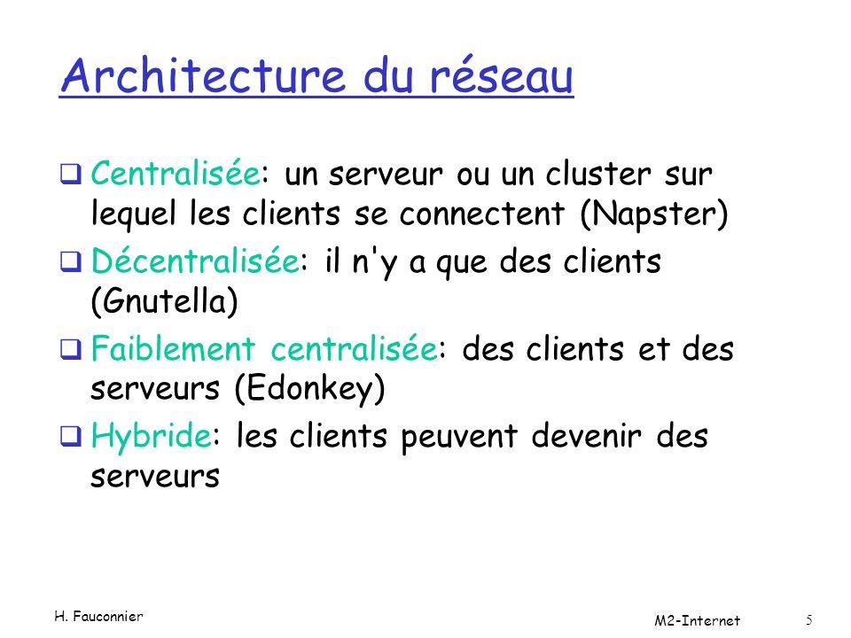 Architecture du réseau Centralisée: un serveur ou un cluster sur lequel les clients se connectent (Napster) Décentralisée: il n y a que des clients (Gnutella) Faiblement centralisée: des clients et des serveurs (Edonkey) Hybride: les clients peuvent devenir des serveurs H.