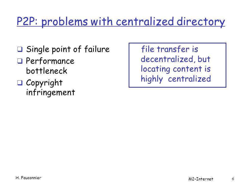 Filtres de Bloom Utilisation: Si le client possède le document les bits des mot-clés correspondant sont à 1 Les clients s échangent les filtres Les requêtes ne sont propagées que vers les clients qui ont le bon filtre H.