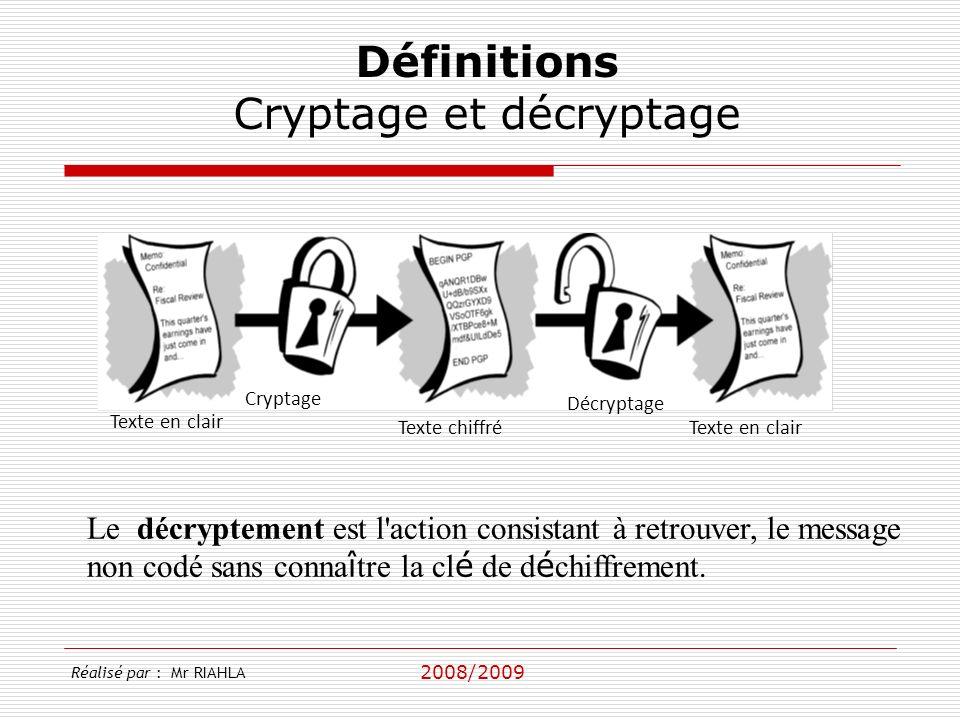2008/2009 Réalisé par : Mr RIAHLA Définitions Cryptage et décryptage Texte en clair Texte chiffréTexte en clair Cryptage Décryptage Le décryptement est l action consistant à retrouver, le message non codé sans conna î tre la cl é de d é chiffrement.