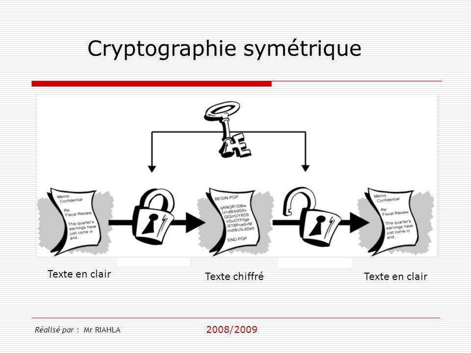 2008/2009 Réalisé par : Mr RIAHLA Cryptographie symétrique Texte en clair Texte chiffréTexte en clair Cryptage Décryptage