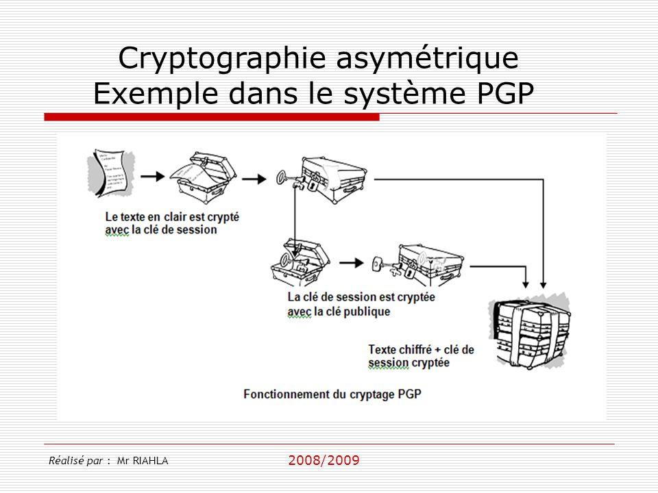 2008/2009 Réalisé par : Mr RIAHLA Cryptographie asymétrique Exemple dans le système PGP