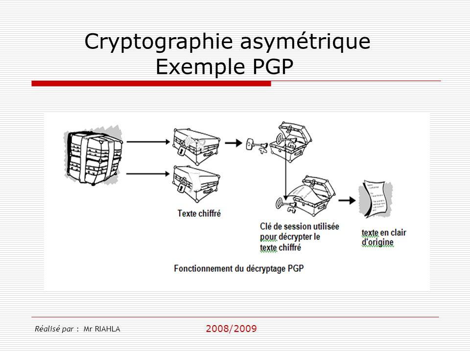 2008/2009 Réalisé par : Mr RIAHLA Cryptographie asymétrique Exemple PGP