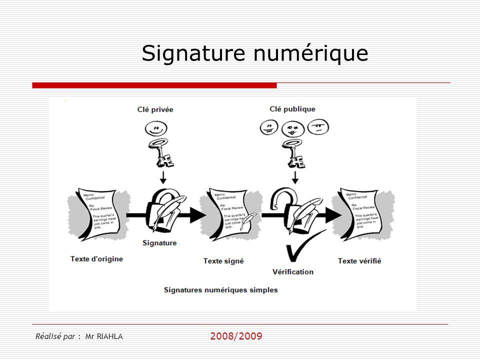 2008/2009 Réalisé par : Mr RIAHLA Signature numérique