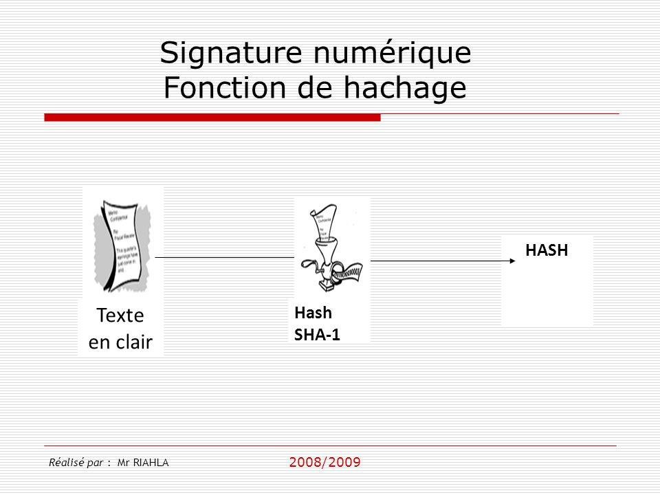 2008/2009 Réalisé par : Mr RIAHLA Signature numérique Fonction de hachage Texte en clair HASH Hash SHA-1