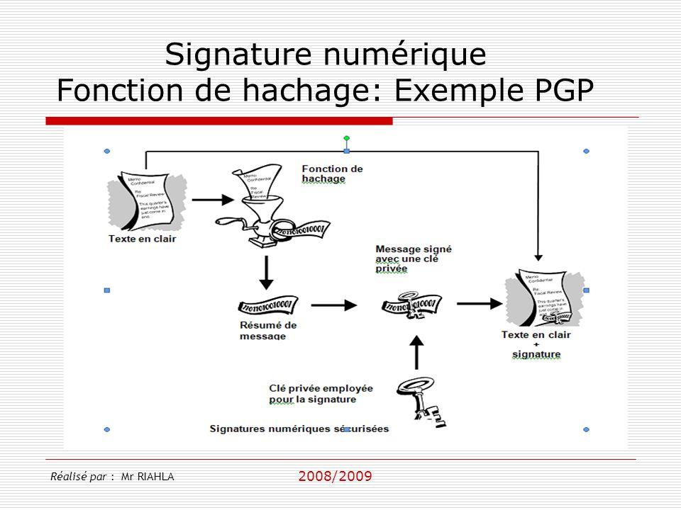 2008/2009 Réalisé par : Mr RIAHLA Signature numérique Fonction de hachage: Exemple PGP