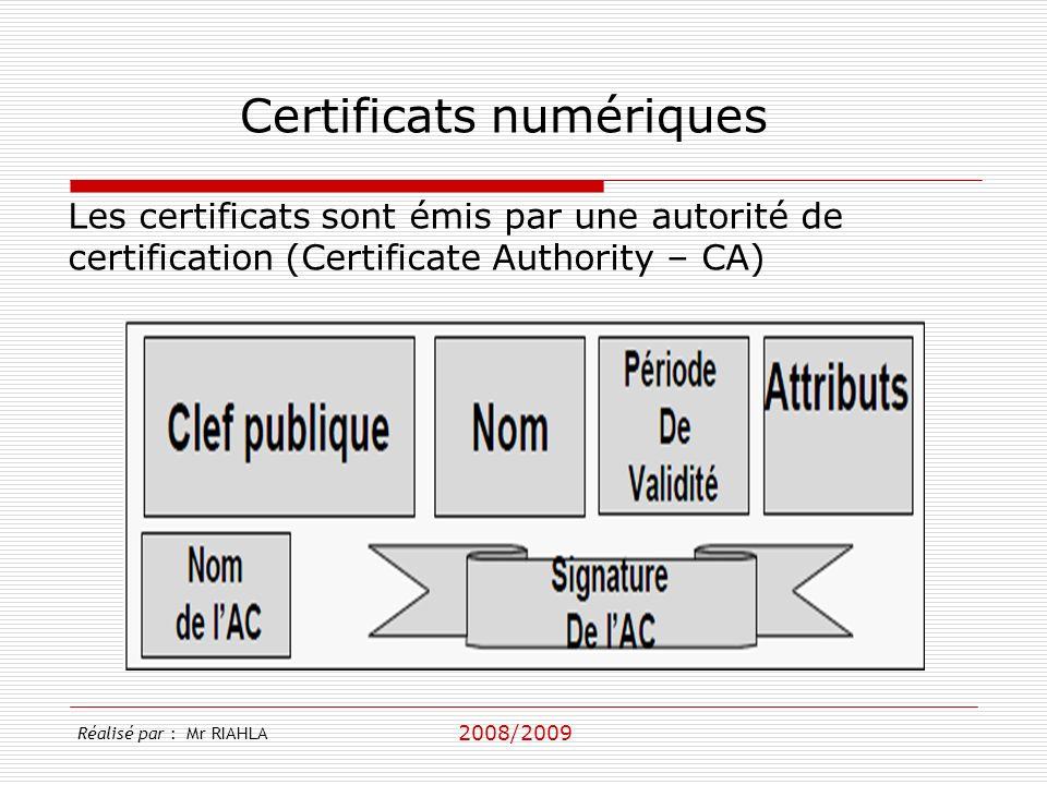 2008/2009 Réalisé par : Mr RIAHLA Certificats numériques Les certificats sont émis par une autorité de certification (Certificate Authority – CA)