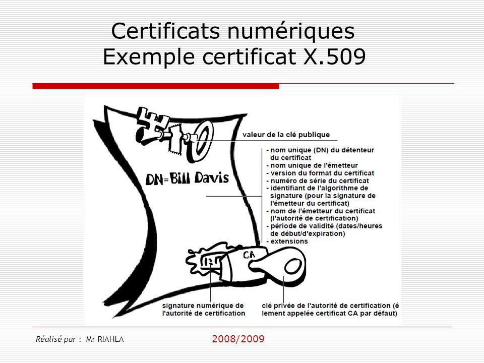 2008/2009 Réalisé par : Mr RIAHLA Certificats numériques Exemple certificat X.509