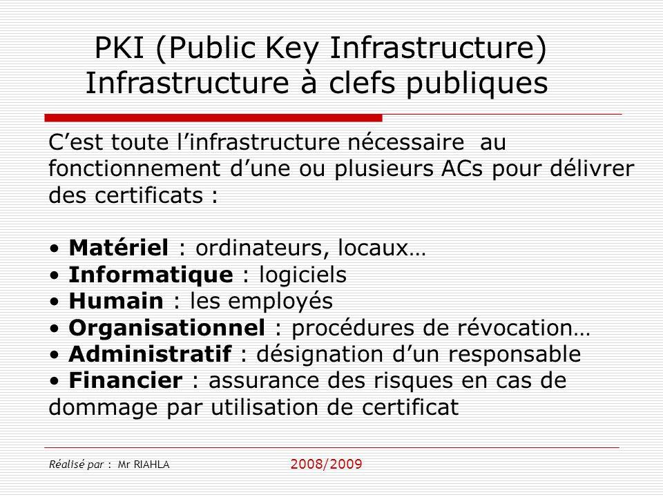 2008/2009 Réalisé par : Mr RIAHLA PKI (Public Key Infrastructure) Infrastructure à clefs publiques Cest toute linfrastructure nécessaire au fonctionnement dune ou plusieurs ACs pour délivrer des certificats : Matériel : ordinateurs, locaux… Informatique : logiciels Humain : les employés Organisationnel : procédures de révocation… Administratif : désignation dun responsable Financier : assurance des risques en cas de dommage par utilisation de certificat