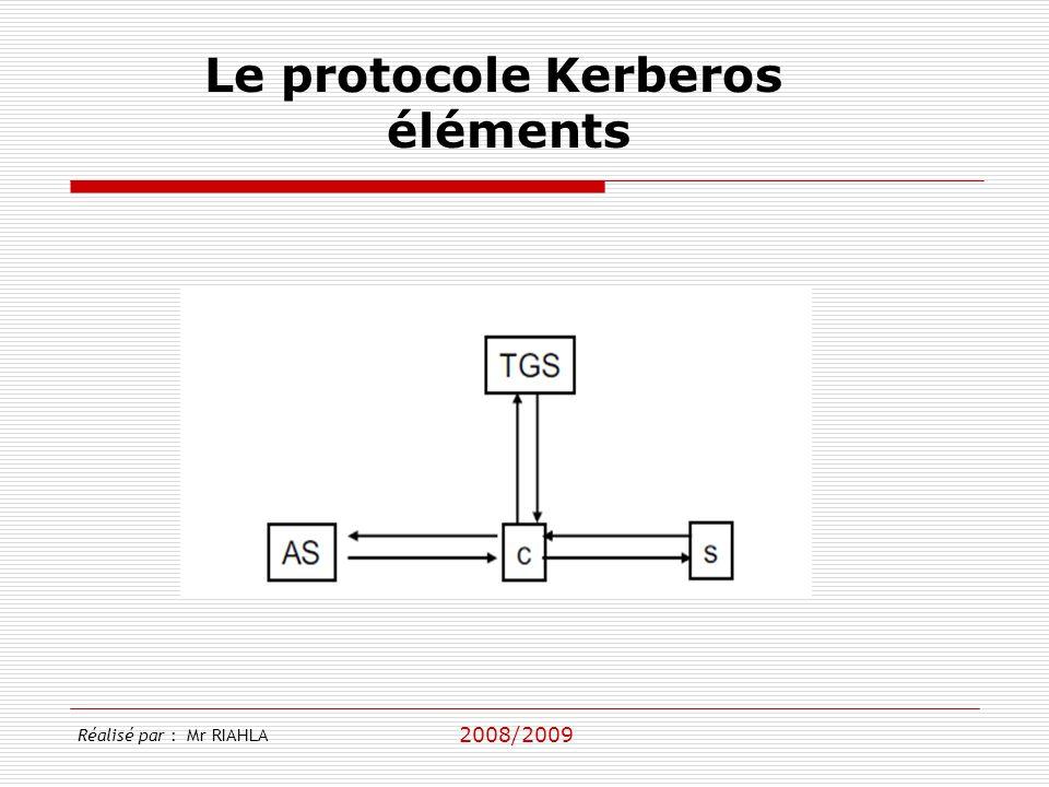 2008/2009 Réalisé par : Mr RIAHLA Le protocole Kerberos éléments