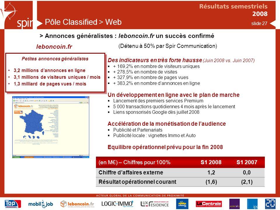 slide 27 Pôle Classified > Web > Annonces généralistes : leboncoin.fr un succès confirmé Des indicateurs en très forte hausse (Juin 2008 vs.