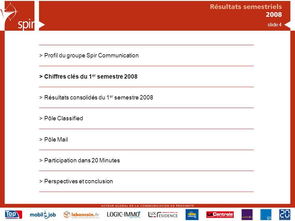 slide 4 > Profil du groupe Spir Communication > Chiffres clés du 1 er semestre 2008 > Résultats consolidés du 1 er semestre 2008 > Pôle Classified > Pôle Mail > Participation dans 20 Minutes > Perspectives et conclusion
